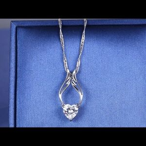Guardian Angel Wings Necklace Heart with Swarovski